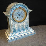A late 19th Century blue and white mantle clock