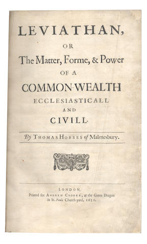 HOBBES (THOMAS) Leviathan, or, the Matter, Forme, & Power of a Commonwealth, Ecclesiasticall and Civill, FIRST EDITION, FIRST ISSUE, 1651