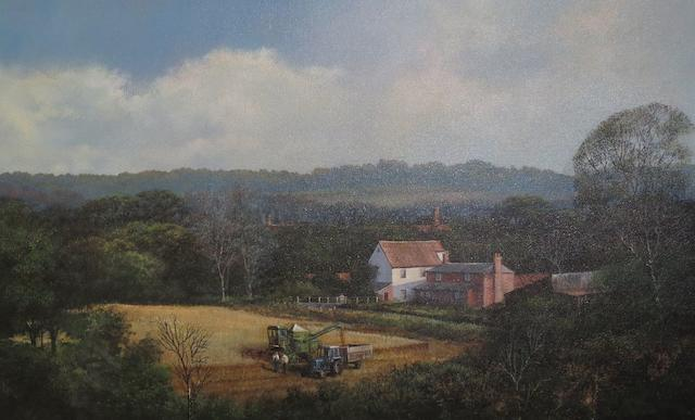 Clive Madgwick (British, 1934-2005) 'Harvesting near Stoke by Nayland, Suffolk'