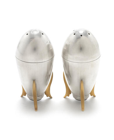 A pair of silver satin finished rocket peppers, with 18 carat gold plating, London 2012
