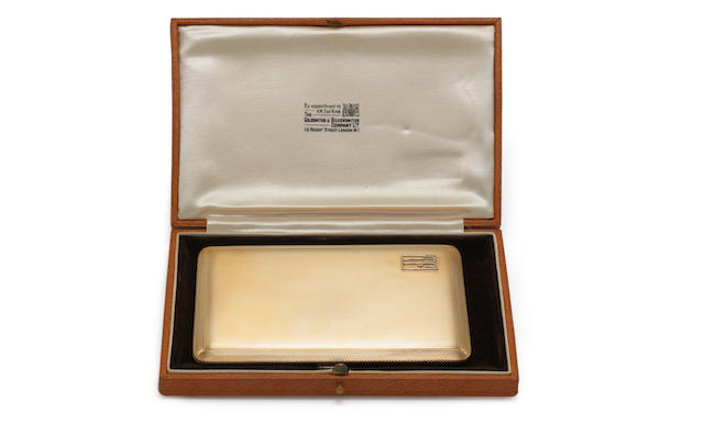 A  9 carat gold cigarette case by Goldsmiths & Silversmiths Co Ltd, London 1934