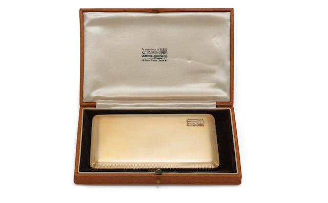 A 9 carat gold cigarette case by Goldsmiths & Silversmiths Co Ltd, London 1934