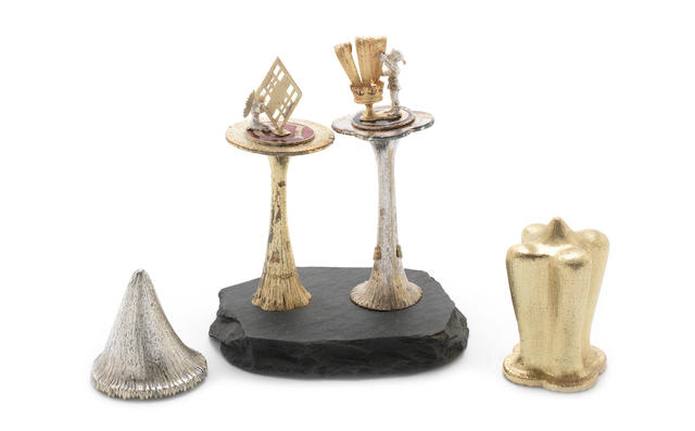 CHRISTOPHER NIGEL LAWRENCE: Two silver, silver-gilt and enamelled toadstools to commemorative the wedding of Prince Charles and Diana Spencer London 1981