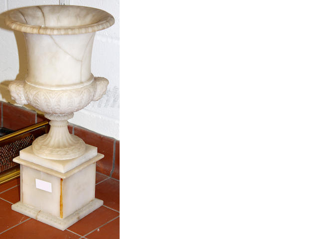 A Neo-Classical alabaster urn on plinthlate 19th Century