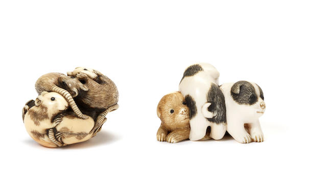 Two ivory netsuke Both by Tomochika, late 19th century