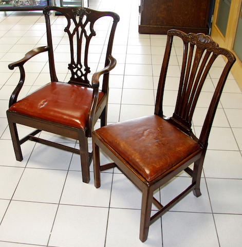 A set of twelve George III style mahogany dining chairs