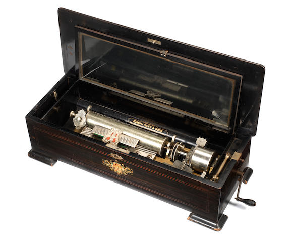A scarce interchangeable musical box, by Samuel Troll, circa 1885, for the American market,