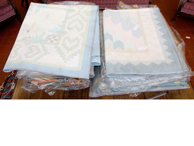 Six cotton dhurries,