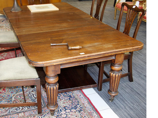 A Victorian mahogany extending dining table,