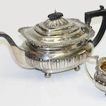 A three piece silver teaset, Sheffield 1909