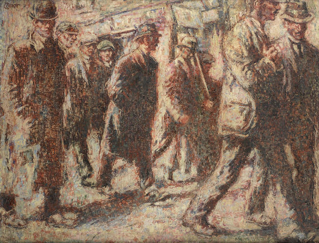 William Conor R.H.A., R.U.A. (Irish, 1881-1968) March of the Strikers 87.5 x 112 cm. (34 1/2 x 44 1/8 in.)
