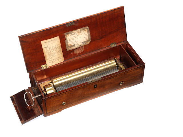 A key-wind musical box, by Nicole Freres, circa 1853,