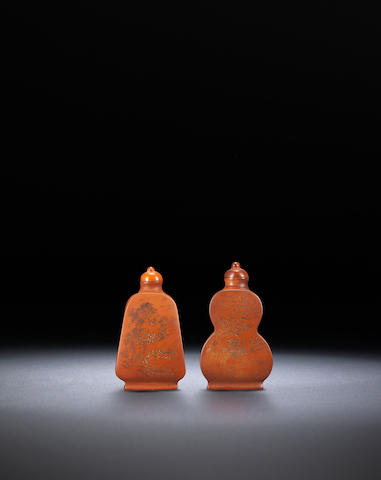 Two engraved pottery on wood 'figure and landscape' snuff bottles Late Qing dynasty