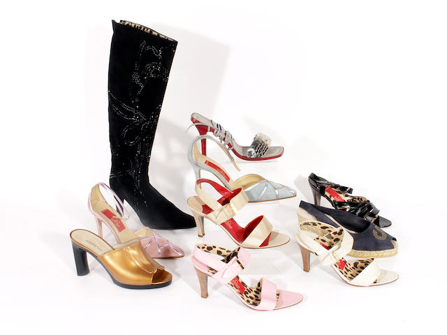 Ten pairs of Valentino and Charles Jourdan shoes and boots