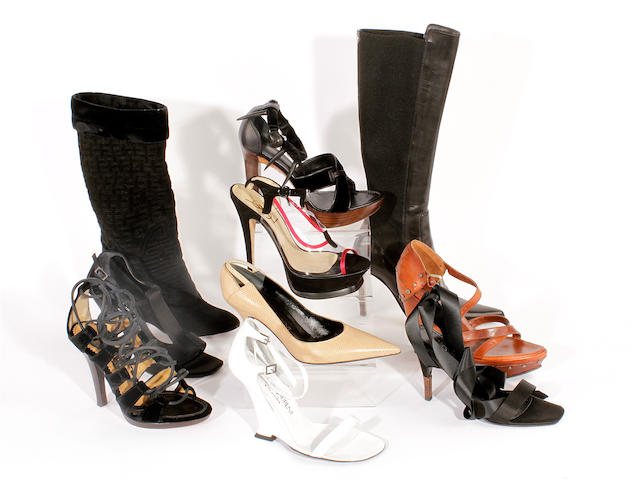 Ten pairs of Yves Saint Laurent shoes, sandals and boots