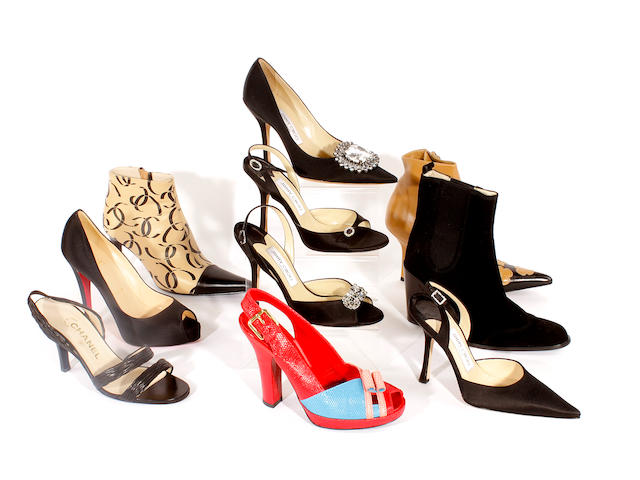 Ten pairs of designer heeled shoes