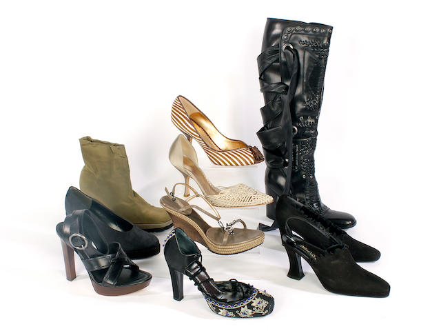 Ten pairs of designer shoes, sandals and boots, including Yves Saint Laurent, Lagerfeld, Armani and Immagine