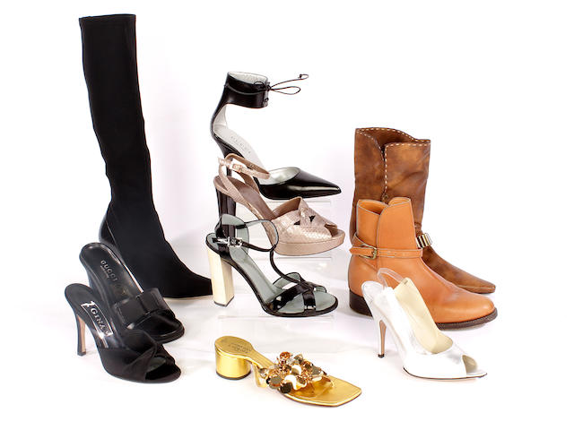 Ten pairs of designer shoes, including Gucci, Christian Lacroix, Celine, Gina and Gidden Riding Boots