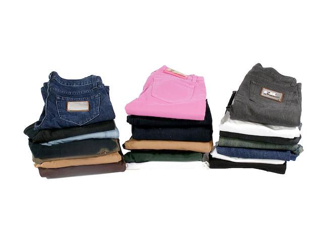 Twenty assorted pairs of designer jeans