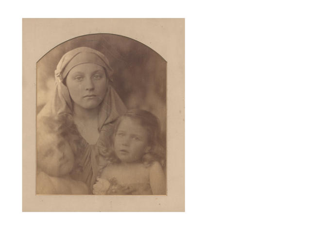 "PHOTOGRAPHY. CAMERON (JULIA MARGARET) [""Madonna and Two Children""] (Elizabeth Keown, Mary Hillier, Alice Keown), 1864"