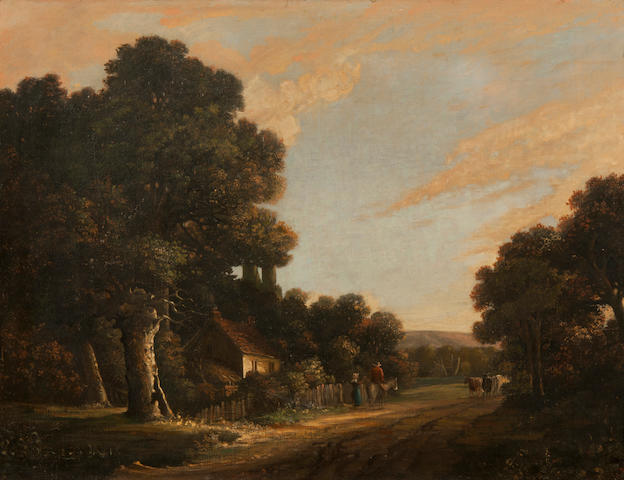 John Berney Crome (British, 1794-1842) Figures on a path in a country landscape