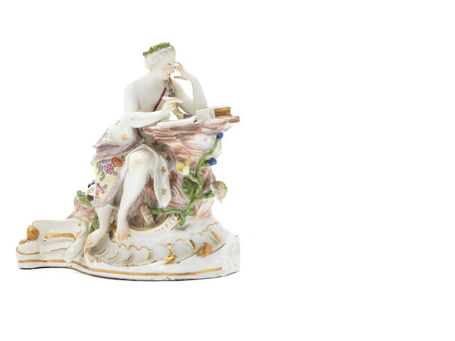 A rare Meissen figure of the Muse Caliope from the Parnassus centrepiece, circa 1762