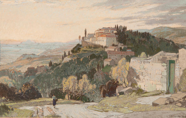 Leonard Russell Squirrell, R.W.S., R.I., R.E. (British, 1893-1979) 'Fiesole and the hills of Tuscany, Evening'