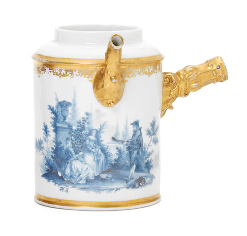 A Meissen chocolate pot painted with blue enamel landscapes (cover and handle lacking)