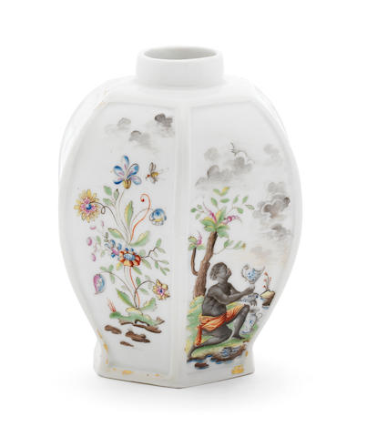 Meissen tea canister, rare hausmaler painting including a negro figure
