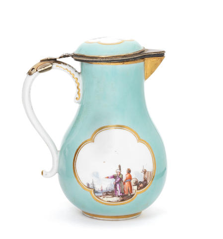 A Meissen turquoise ground jug and cover with hinged mount (tiny chips on the spout)