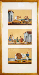 A group of fifteen paintings on mica depicting processions, ceremonies, tradesmen and servants South India, Trichinopoly, circa 1850(6)