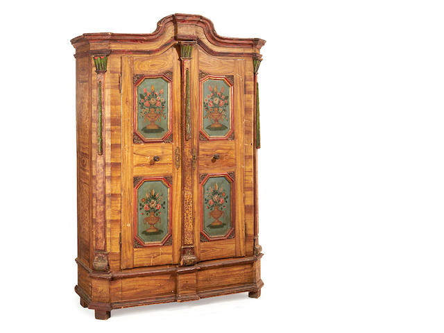 An Austrian early 19th century polychrome decorated wardrobe