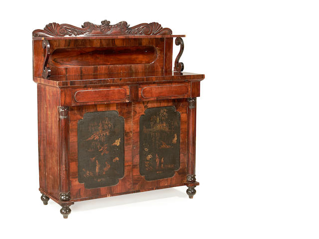 A George IV rosewood and black and gilt japanned panel inset chiffonier