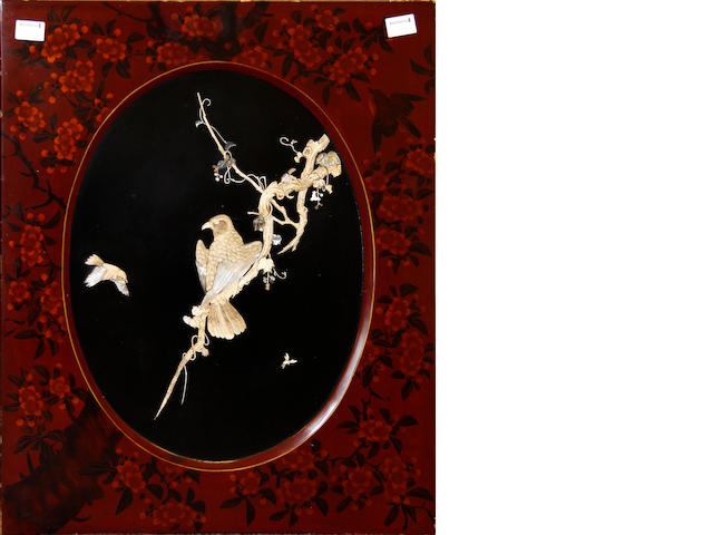 A Chinese ivory, bone and mother-of-pearl inlaid lacquer panel