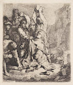 Rembrandt Harmensz van Rijn (Dutch, 1606-1669) The Adoration of the Shepherds: A Night Piece Etching, c.1652, a late impression of the eighth and final state, on laid, trimmed to platemark, 149 x 198mm (5 4/5 x 7 3/4in)(PL), together with two others, 'The Tribute Money' (B68), c.1635, 73 x 103mm (PL), and 'The Stoning of St Stephen' (B97), c.1635, 95 x 85mm(PL), both later impressions, both on laid with narrow margins 3 unframed