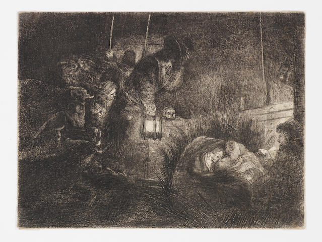 Rembrandt Harmensz van Rijn (Dutch, 1606-1669) The Adoration of the Shepherds: A Night Piece Etching, c.1652, a late impression of the eighth and final state, on laid, trimmed to platemark, 149 x 198mm (5 4/5 x 7 3/4in)(PL), together with two others, 'The Tribute Money'(B68), c1635, 73 x 103mm (PL), and 'The Stoning of St Stephen'(B97), c.1635, 95 x 85mm(PL), both later impressions, both on laid with narrow margins  3 unframed
