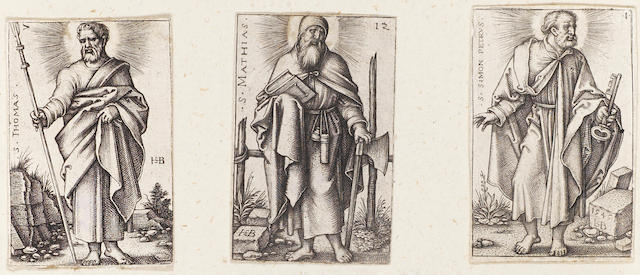 A Collection of Old Master Prints A tooled vellum bound volume containing 39 miscellaneous engravings, including works by and after Hans Sebald Beham,  from the Apostles (B43,46,47,49,51,53,54), the Seven Virtues (B130,132,134,135), 'Christ the Saviour' (B36) from Christ and the Twelve Apostles, 'Sol' (B117) and works by Heinrich Aldegrever, together with two framed Durer engravings, 'Satyr Family'(B69), a late impression, and 'Standard Bearer'(B87), a copy by Wierix, and an unframed French 17/18th century engraving of military trophies Coll