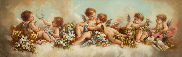 Charles Augustus Henry Lutyens (British, 1829-1915) Amorini amidst garlands on a cloud