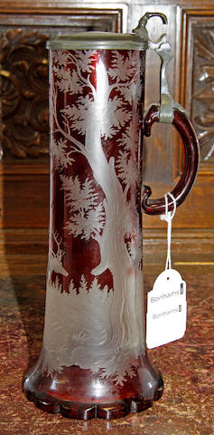 A Bohemian ruby flashed glass stein