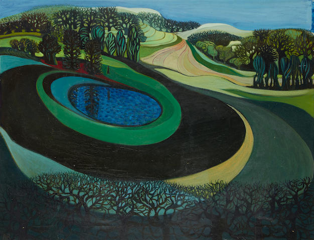 Anthea Craigmyle (British, born 1933) Landscape with forest and pond unframed