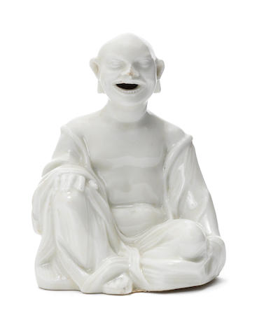 An early Meissen white figure of a seated pagoda, circa 1715-20