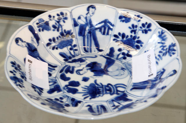A Chinese blue and white shaped dish