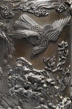A tall bronze vase By Nishi Masayoshi, Meiji Period