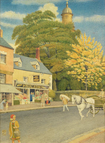 Joseph Edward Southall (British, 1861-1944) Autumn in Banbury 28 x 20.5 cm. (11 x 8 1/4 in.)