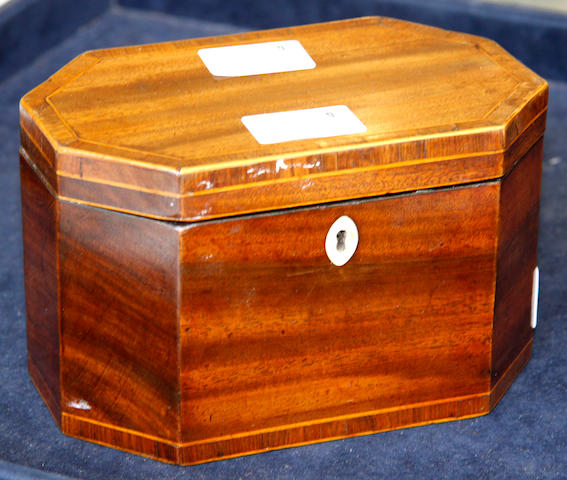 A George III mahogany octagonal tea caddy
