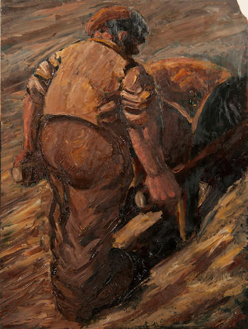 Colin Moss (British, 1914-2005) Man pushing a wheelbarrow