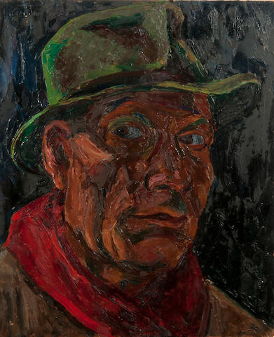 Colin Moss (British, 1914-2005) Self portrait in de-mob hat