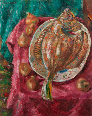 Colin Moss (British, 1914-2005) Still life of plaice and onions