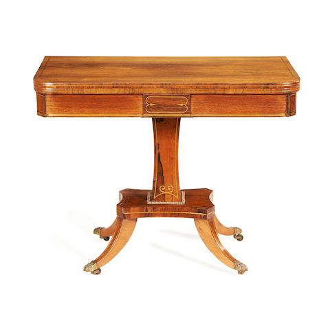 A late Regency brass inlaid rosewood card table