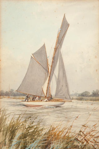 S J Batchelder, Yacht with St Benet's Abbey & Yacht at Thurne Mouth, a pair, watercolour (2)